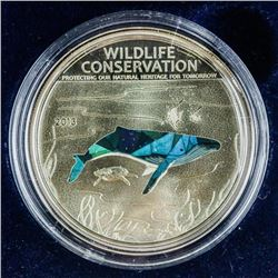 Humpback Whale 925 Sterling Silver Proof  $5.00 Coin