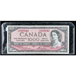 Bank of Canada 1954 1000.00 Note, Modified  Portrait. L/B