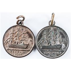 Lot (2) 1905 Victory Medal, B.F.S.S Nelson  Centenary Victory Copper