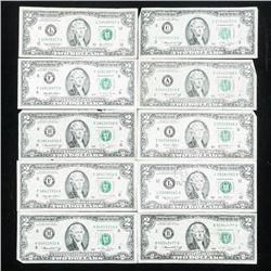 Group of (10) USA 2.00 notes, Mixed