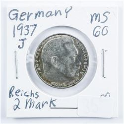 Germany 1937J 2 Reichsmark Silver Coin MS60