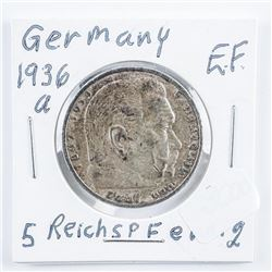 Germany 1936s 5 Reichsmarks Silver Coin .4016  ASW