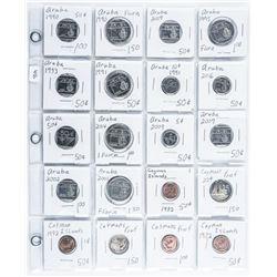 Group of (20) Aruba/Cayman Islands Coins