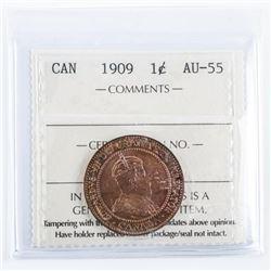 Canada 1909 1 Cent AU-55. ICCS.