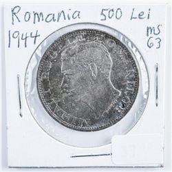 Romania 1944 Silver 500 LEI MS63 .2701 ASW