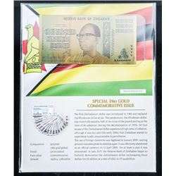 Reserve Bank of Zimbabwe Special 24kt Gold  Commemerative one Hundred Decillion Dollars  with Art Ca