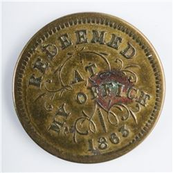 1863 Oliver BOUTWELL Miller 'Redeemed' at My  Office. Troy N.Y. Token
