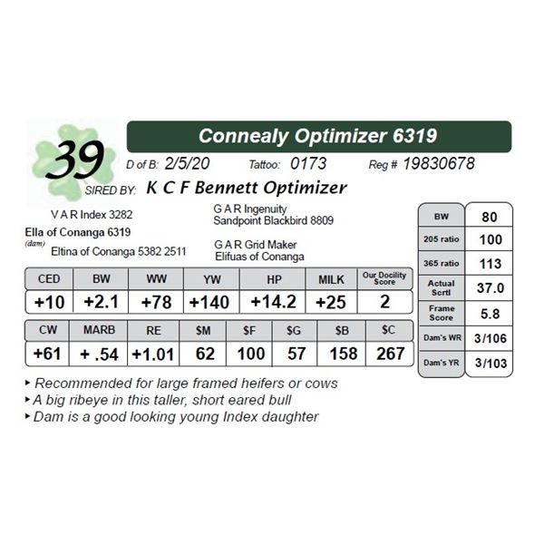 Connealy Optimizer 6319