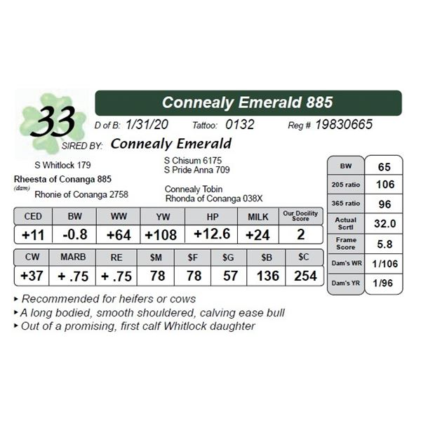 Connealy Emerald 885