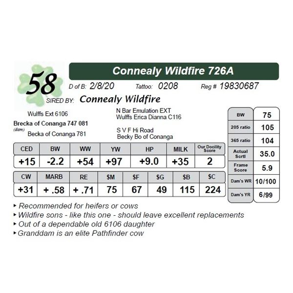 Connealy Wildfire 726A