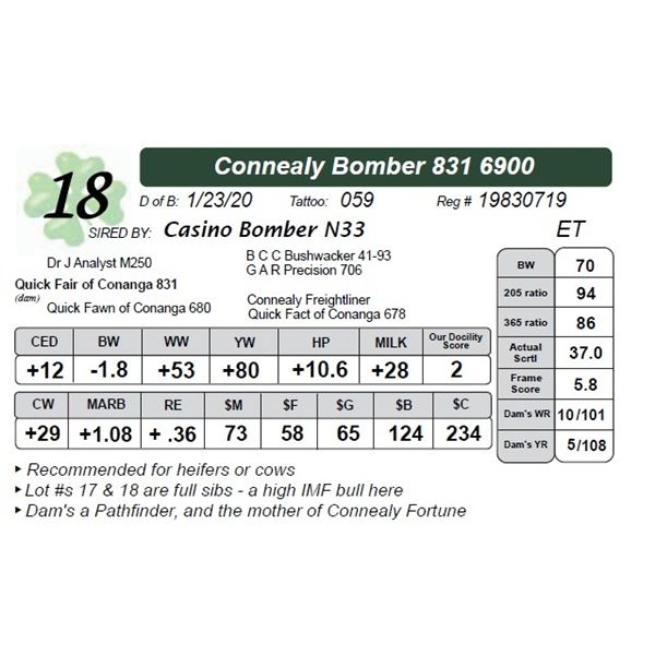 Connealy Bomber 831 6900