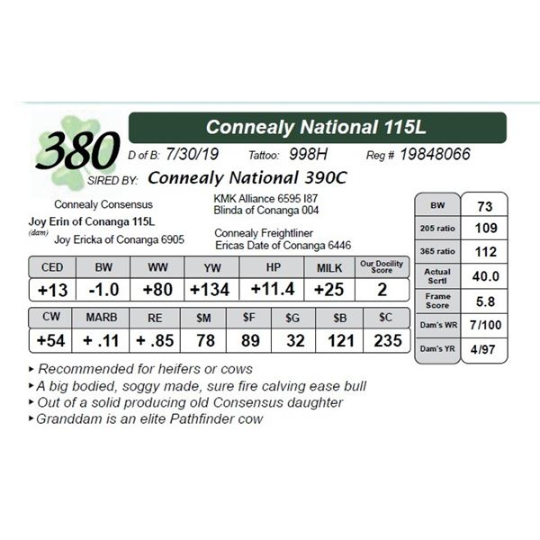 Connealy National 115L