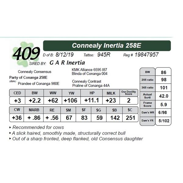 Connealy Inertia 258E