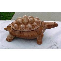 Chocolate Milk Glass Knobby Turtle Covered Dish#1456992