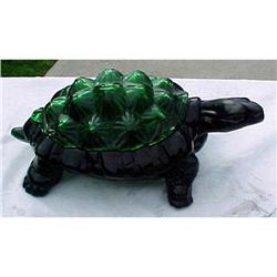 Green Knobby Back Turtle Covered Dish Fenton #1456993