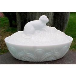 Milk Glass Monkey Covered Dish Flaccus Glass #1456994