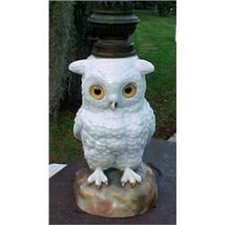 Owl Oil Lamp German Porcelain Ceramic  #1456996
