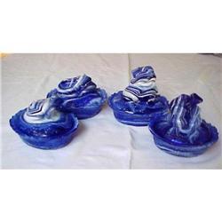 4 Cobalt Blue & White Slag Frog Covered Dish #1456999