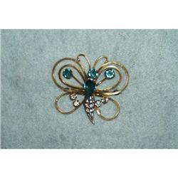Jewelry-12KT GF/Silver/Rhinestone Butterfly #1457004