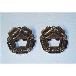 Jewelry-MUSI Signed Brass Shoe Buckles #1457014