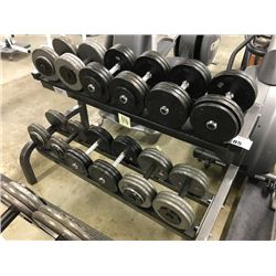 NORTHERN LIGHTS 2 TIER DUMBBELL RACK WITH MISC. DUMBBELLS