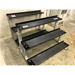 BLACK AND GREY 3 TIER WEIGHT RACK