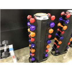 LOT OF MISC. GEL DUMBBELLS  AND 1 HAMPTON DUAL SIDED DUMBBELL STAND