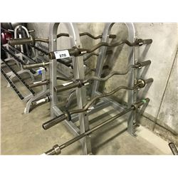 3 STAINLESS STEEL CURLING BARS AND 1 BARBELL DOES NOT INCLUDE RACK