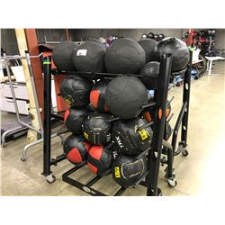 BLACK MOBILE MEDICINE BALL MOBILE RACK COMES WITH MEDICINE BALLS