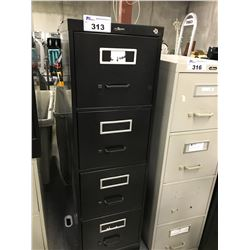 BLACK 4 DRAWER LETTER SIZE VERTICAL FILE CABINET