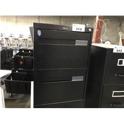 BLACK 2 DRAWER LETTER SIZE VERTICAL FILE CABINET