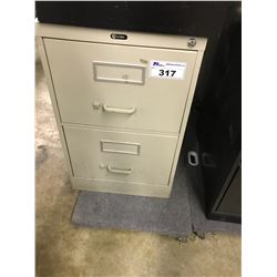 GREY 2 DRAWER LETTER SIZE VERTICAL FILE CABINET
