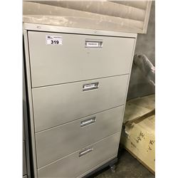 LIGHT GREY 4 DRAWER LATERAL FILE CABINET