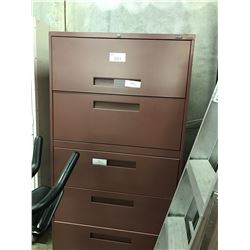 2 GLOBAL MAROON 5 DRAWER LATERAL FILE CABINETS