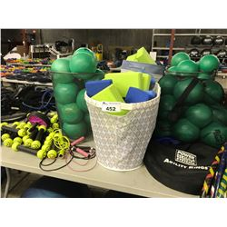LOT OF CIRCUIT TRAINING EQUIPMENT INCLUDING MEDICINE BALLS, ROPES, YOGA BLOCKS, HULA HOOPS AND MORE