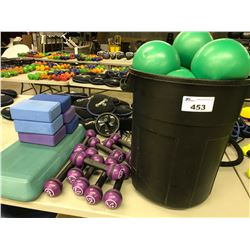 LOT OF CIRCUIT TRAINING EQUIPMENT INCLUDING MEDICINE BALLS, ROPES, YOGA BLOCKS, WEIGHTS AND MORE
