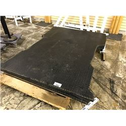 HEAVY DUTY RUBBER MAT, APPROX. 8' X 5', CUT TO SHAPE FOR 8' TRUCK BED