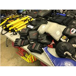 LOT OF MISC. BOXING GLOVES AND MISC.