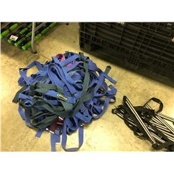 LOT OF BRAIDED ROPE AND MISC. STRAPS