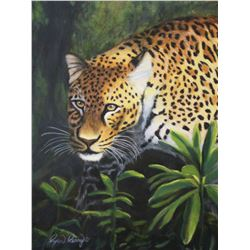 Leopard Painting titled Leopard's Eyes - Original oil painting on canvas with frame