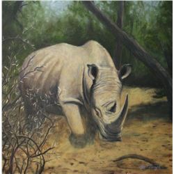 Rhino Painting titled Rhino Charging  Original Oil painting on canvas