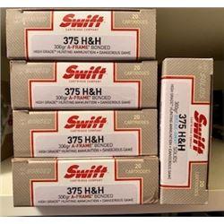 Swift High Grade Ammunition 100 Rounds of .375 H&H