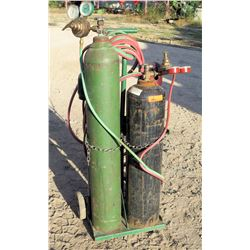Qty 2 Metal Welding Tanks w/ Gauges & Hoses on Rolling Dolly