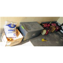 Multiple Gas Cans, Sprayer, Absorbent Pads, Napa Floor Dry Granular Absorbent, etc