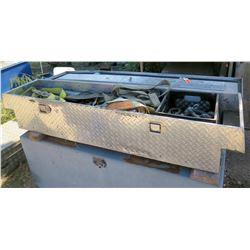 Diamond Plate Truck Box & Contents: Nylon Straps, Shackles, Connectors, Switch, etc
