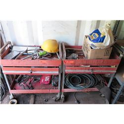 Qty 2 Metal Rolling Tool Carts & Contents:  Jumper Cables, First Aid Kit, Hoses