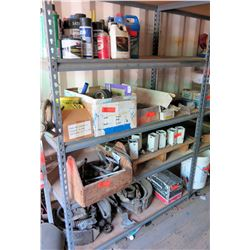 Shelving and Contents: Antifreeze, Filters,  Brake Shoes, etc.