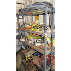 Shelving and Contents: Nylon Straps, Ratchets, Binders, Rope, etc.