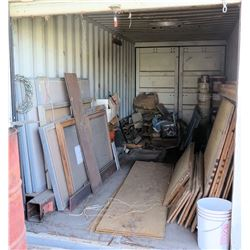 Contents of Container: Plywood, Lumber, Angle Iron, Channel Iron, Grease, Roof Leak