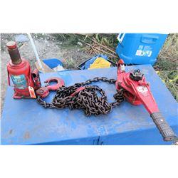 Bottle Jack 20 Ton, Coffing 3 Ton Ratchet Lever w/ Chain & Hook
